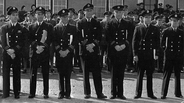 Receiving awards In the summer of 1942, Ferry Command aircrew L-R: Capt. W.J. VanDerKloot, CBE, OBE, Capt. J.H. Ruggles, MBE, Capt. D.M. Teel, Capt. R. Carlet, Capt. P.E. Zimmerman, R/O N. Jubb, R/O D.B. Jarvis
