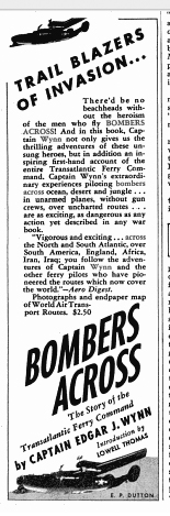 Image of Ad for Bombers Across in September 1944 issue of Flying Magazine