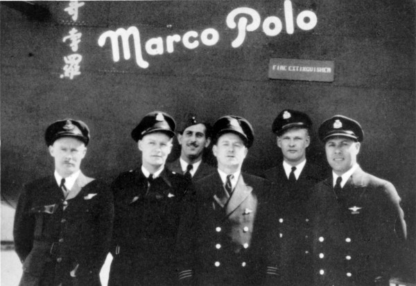 Crew of Marco Polo, L-R: Flight Lieutenant H.J. Farley, Flight Engineer A. Wright, Flying Officer A. Colato, Radio Officer C.P. Meagher, First Officer E.E. Abbott, Captain George P. Evans, OBE