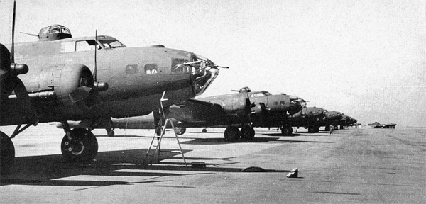 A long line of B-17 Flying Fortresses at Dorval, awaiting delivery overseas by Ferry Command