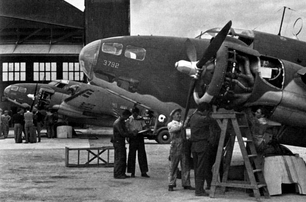 Lockheed Hudsons being checked out in Gander, Newfoundland, 1941, before delivery across the North Atlantic to Prestwick, Scotland