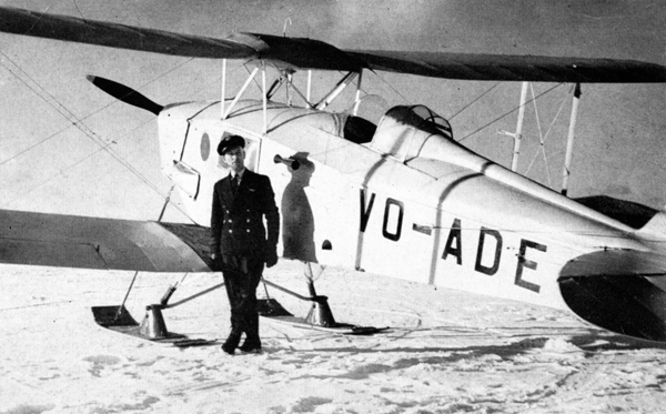 "John Joseph ""Joe"" Gilmore with Gander's air-sea rescue deHavilland Moth. Joe was also a crack mechanic."