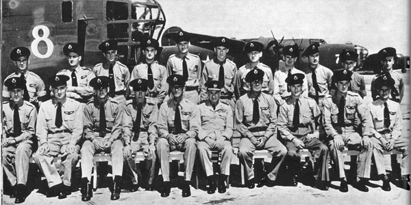 More of the Liberator crews assigned to deliver ammunition to Africa: Back row, standing, L-R, D. Burns, J. McGinniss, Watson, H.G. Filtness, McDonald, W.D. Erdeley, A.L. Evans, D.B. Jarvis, M. Pierson-Jones, Cooke, H.W. Huston. Front row, seated, L-R, Rodgers, H. Flory, R.G. Johns, Capt. E.W. Hightower, Capt. T.L. Livermore, Sir Frederick Bowhill, Capt. A.J. Burke, Capt. N.L. Williams, Capt. J.H. O'Neill, Capt. G.S. Tobin