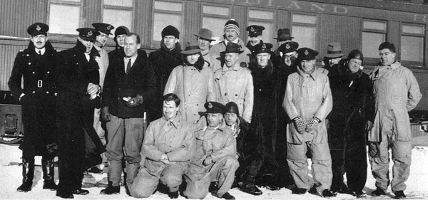 Aircrew from first Hudson deliveries, Nov. 1940, Gander: Back row, standing, L-R, R. Allen, R.F. Campbell, W.C. Hunt, S.H. Dekantzow, J.W. Allison, J.A.S. Hunter, F.C. Cornish. Front row, standing, L-R, J.N. Wilson, A.G. Store, F.W. Coughlin, R.S. Leroy, F. Mitchell, N. Jubb, M.A. Alden, R.L. West, N. Steen. Kneeling, R.C. Jude, D.N. Rennie, F.L. Graham.