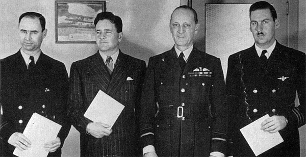 L-R: R/O Hodgson, Capt. Al Lilly, Air Vice Marshal Marix, Capt. Wallace Siple